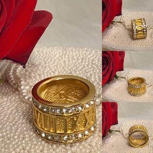 🔆 Swarovski roman numerals crystal golden ring